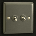 Varilight 2 Gang 10A 1 or 2 Way Dolly Toggle Light Switch Graphite 21 XPT2